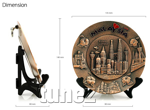 KLCC Malaysia Petronas Twin Towers Souvenior Melaka Penang Bridge KLIA Metal Plate with Stand Display Gift