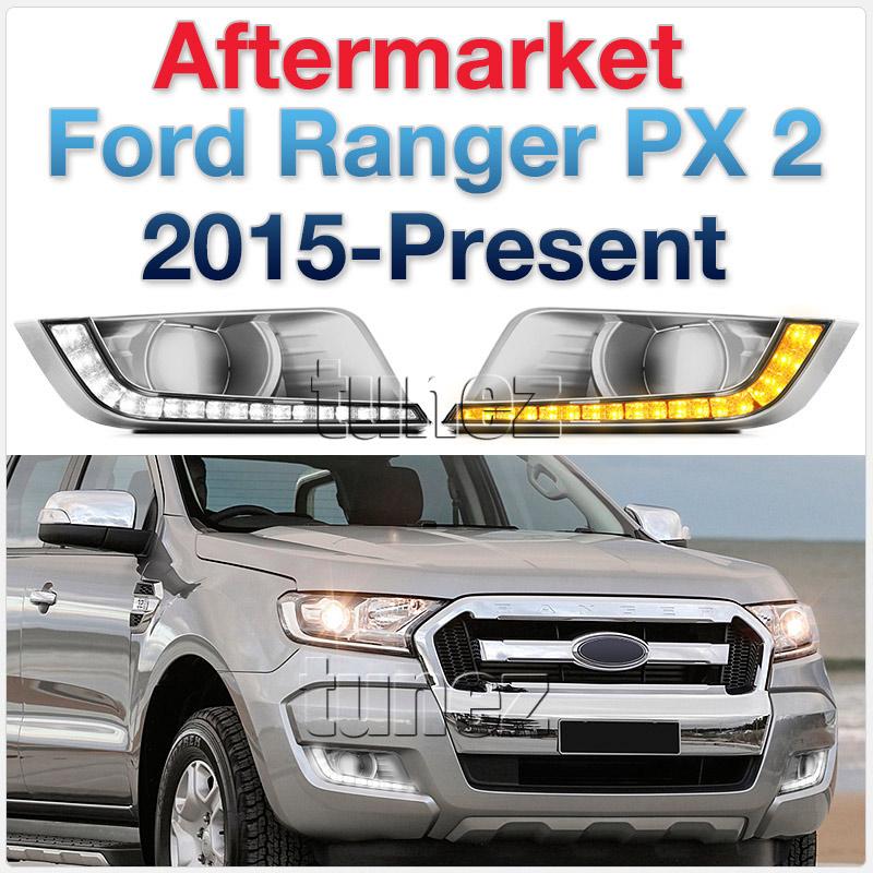 Pair Ford Ranger PX2 Wildtrak 2015-ON White LED DRL Daylight Fog Lamp Indicator