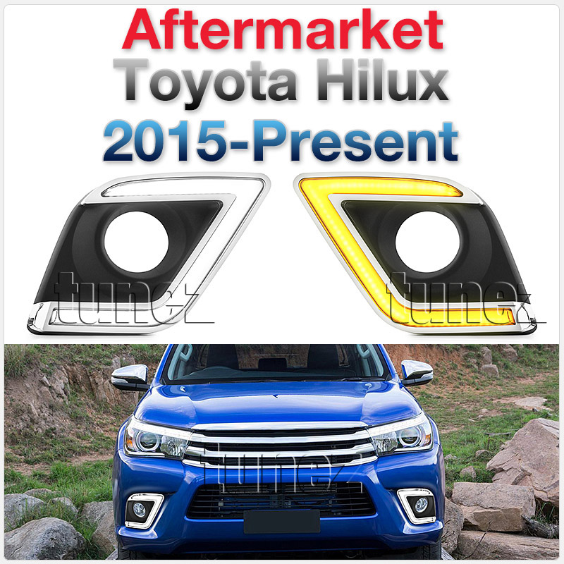 DRL Daytime Running Light For Toyota Hilux 2015-2018 LED Fog Lamp Turn Signal OZ