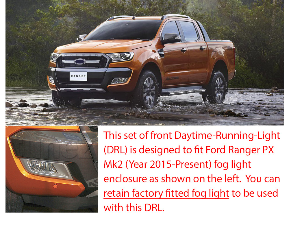DRL15 COB Chip On Board Ford Ranger PX2 PX 2 MK2 Series MKII T6 Wildtrak XL XLS XLT LED Fog Light UK United Kingdom USA Australia Europe Daytime Day Running Light DRL Day-Running-Light Lamp Front Lights With Turn Signal Light Amber White For Car Aftermarket Pair 2015 2016 2017 2018 Limited2 Limited