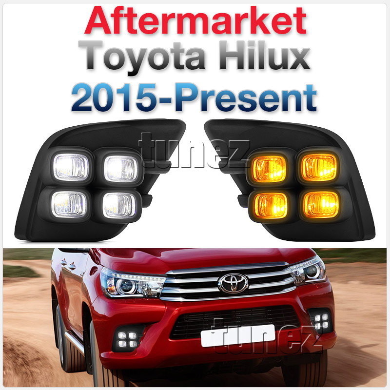 Daytime Running Light DRL Toyota Hilux 2015 2016 LED Fog Light Bezel Turn Signal