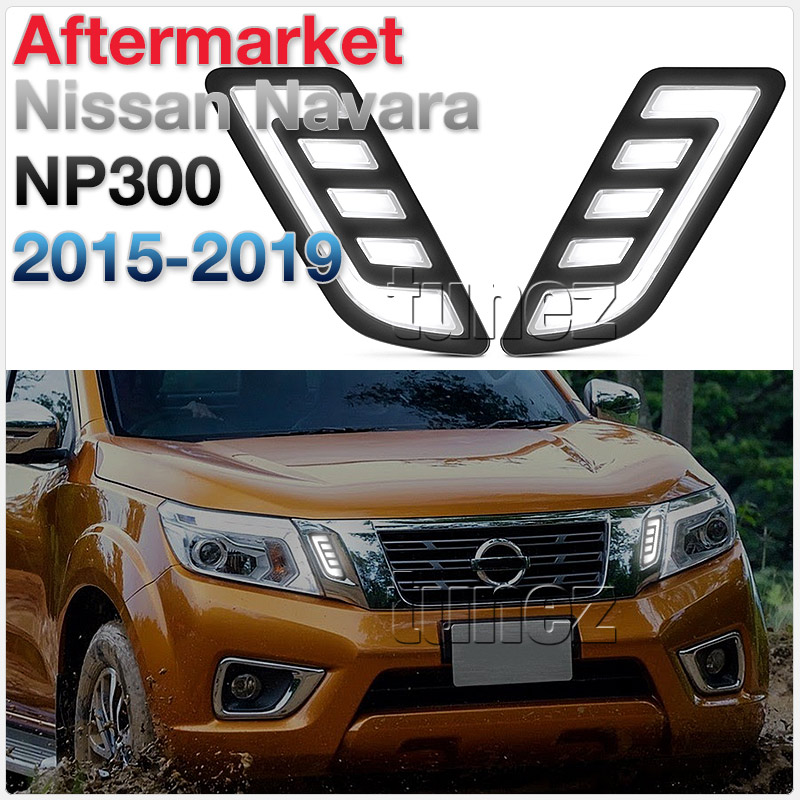 Grill Grille White LED Light DRL COB Pair For Nissan Navara D23 NP300 DX RX OZ