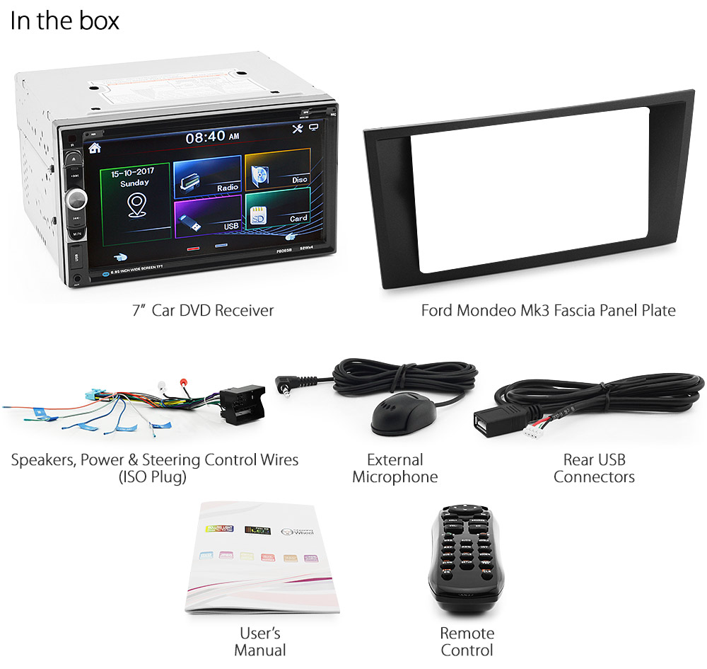 7 Car Dvd Player Usb Mp3 For Ford Mondeo Mk3 Fascia Kit Iso Stereo Wiring Harness Rear Radio Control Ff08dvd 2nd Generation Mkiii Year 2003 2004 2005 2006 2007 Cd