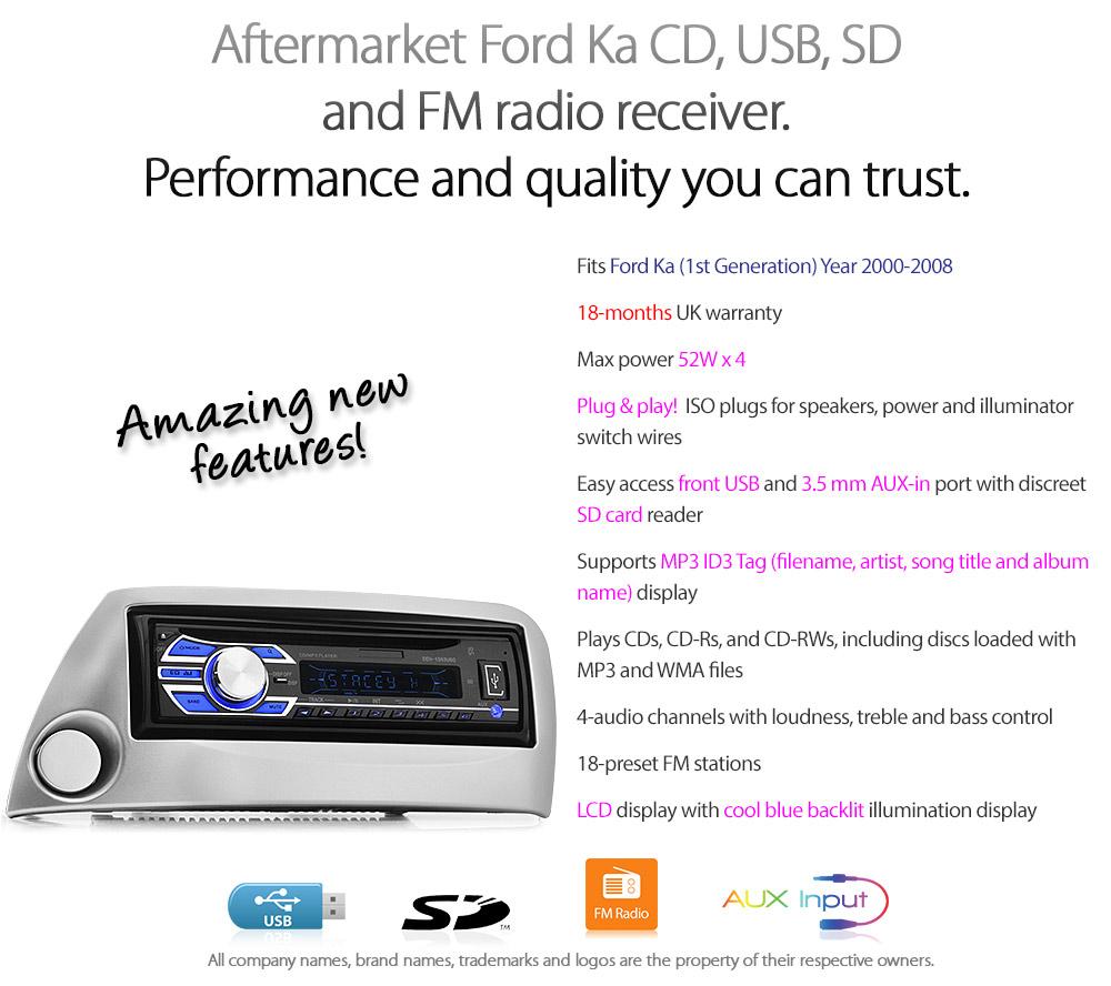 Ford Ka Single 1 Din Car Stereo Fascia Facia Panel Radio Fitting Kit Universal Aux Input Wiring Harness Fk02cd Aftermarket 1st Generation 2000 2001 2002 2003 2004 2005 2006 2007 2008 6000