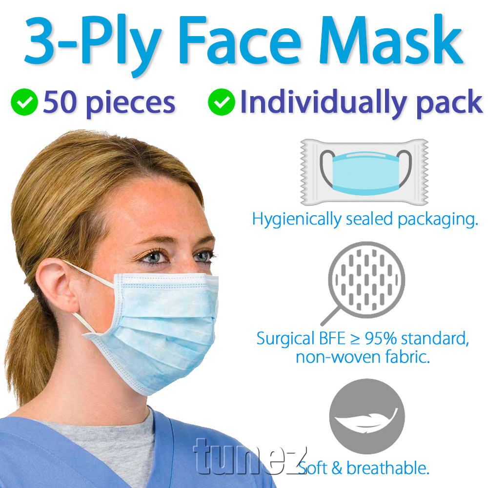 50 Pieces Disposable Surgical Face Mask Mouth 3 Layer Ply Protective Individually Packed Medical