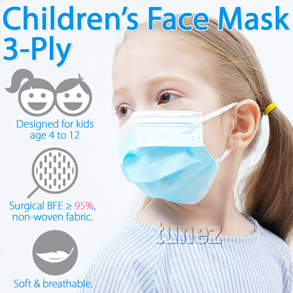 50 Pieces Children Disposable Face Mask Mouth 3 Layer Ply Protective