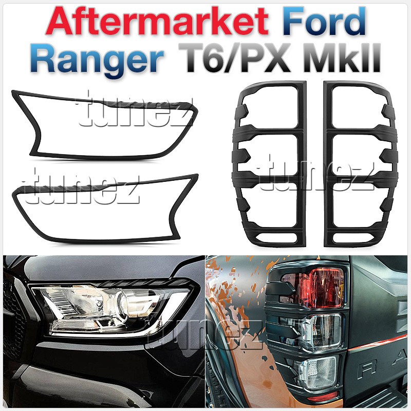 Ford Ranger PX2 MK2 T6 2016 2017 Matte Black Front Tail Rear Light Lamp Cover OZ