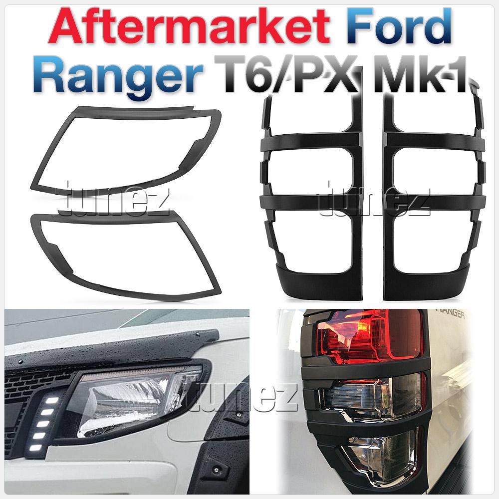 Matte Black Front Rear Tail Light Lamp Cover Ford Ranger PX T6 Wildtrak MK1 XLT