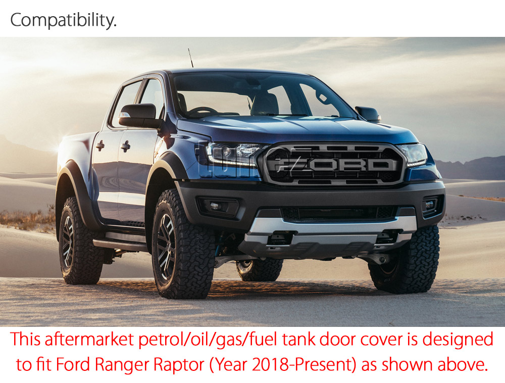 Fuel Gas Petrol Tank Door Matte Black Cover Car For Ford Ranger Raptor 2018 2019