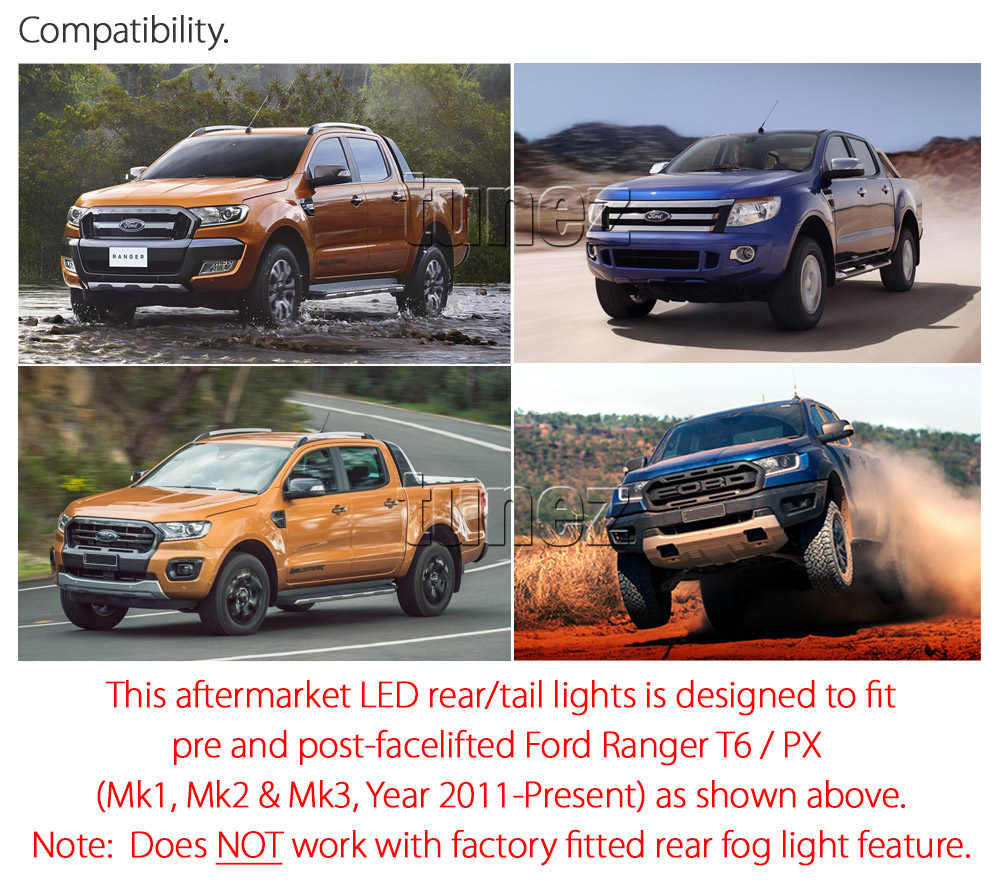 FRR08 Ford Ranger PX T6 MK1 MK2 MKI MKII MKIII MK3 Raptor Wildtrak XL XLS XLT Limited2 Limited 2 Smoked Smoke 3 Three LED Tail Rear Lamp Lights For Car Autotunez Tunez Taillights Rear Lamp Light Aftermarket Pair Set Raptor 2011 2012 2013 2014 2015 2016 2017 2018 2019 Sequential Motion Turn Signal Indicators OEM Manufacturer Premier Series 24-months 2-Year Warranty Land Rover Discovery Style Look