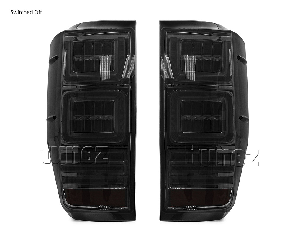 Tunez Smoked LED Tail Rear Lamp Lights For Ford Ranger Raptor T6 PX Smoke Ozproz
