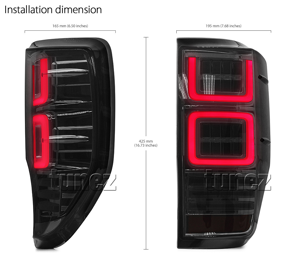 FRR08 Ford Ranger PX T6 MK1 MK2 MKI MKII MKIII MK3 Raptor Wildtrak XL XLS XLT Limited2 Limited 2 Smoked Smoke 3 Three LED Tail Rear Lamp Lights For Car Autotunez Tunez Taillights Rear Lamp Light Aftermarket Pair Set Raptor 2011 2012 2013 2014 2015 2016 2017 2018 2019 Sequential Motion Turn Signal Indicators OEM Manufacturer Premier Series 24-months 2-Year Warranty Land Rover Discovery Style Look Dimension
