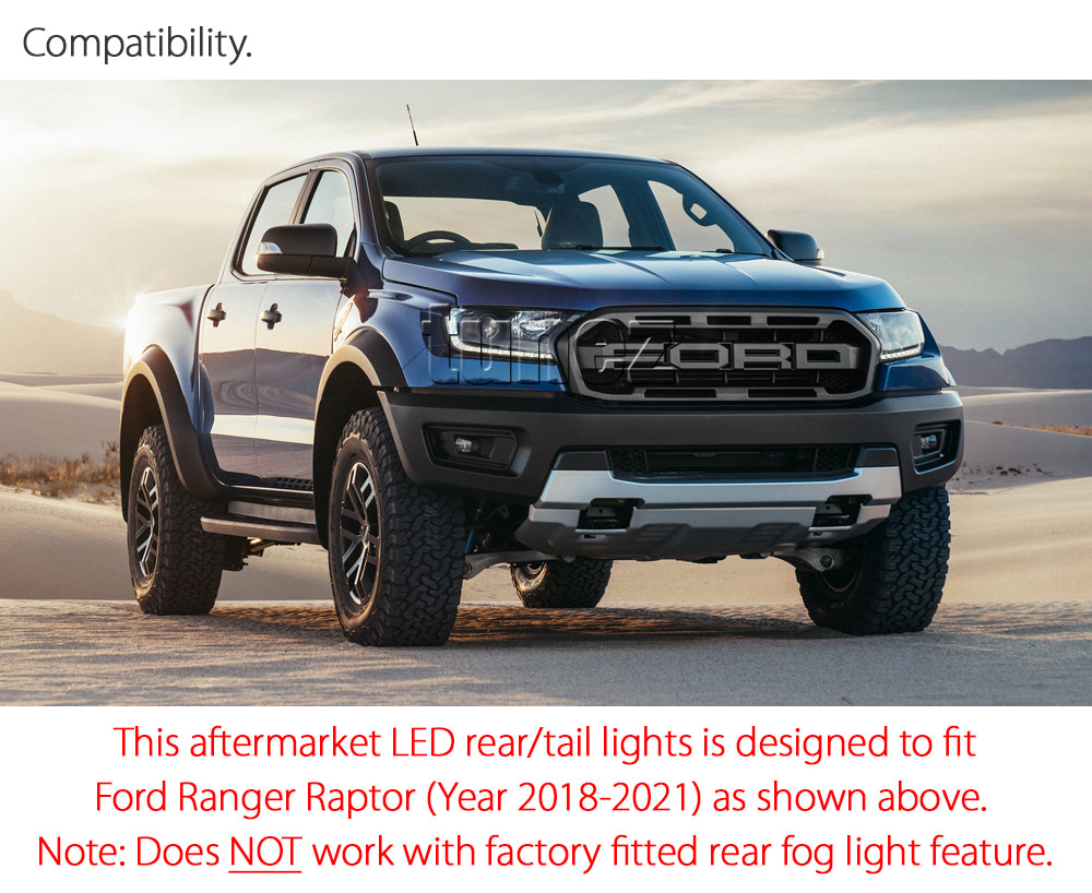 Aftermarket Ford Ranger PX Raptor Smoke Edition Tail Light