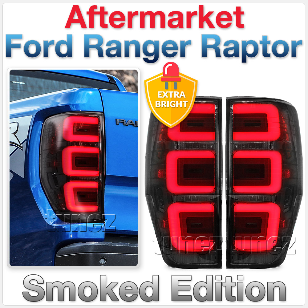 Smoked LED Tail Rear Lamp Lights For Ford Ranger Raptor 2018 2019 3U Design OZ