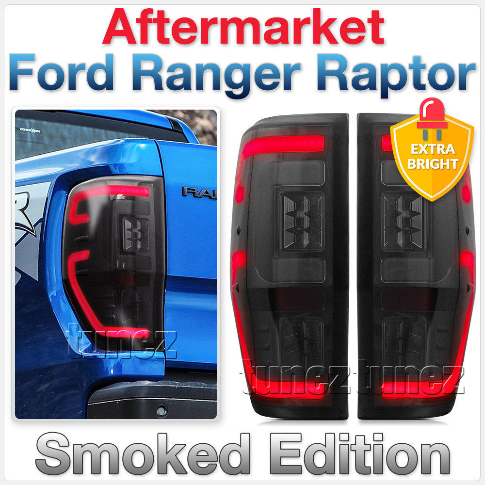 FRR11 Ford Ranger PX T6 Raptor Smoked Smoke F-150 F150 Black Edition Styled Three LED Tail Rear Lamp Lights For Car Autotunez Tunez Taillights Rear Light OEM Aftermarket Pair Set 2018 2019 2020 2021 OEM Manufacturer Premier Series 1-Year 12-month Warranty Style Look 2.0 Bi Turbo CDI Bi-Turbo