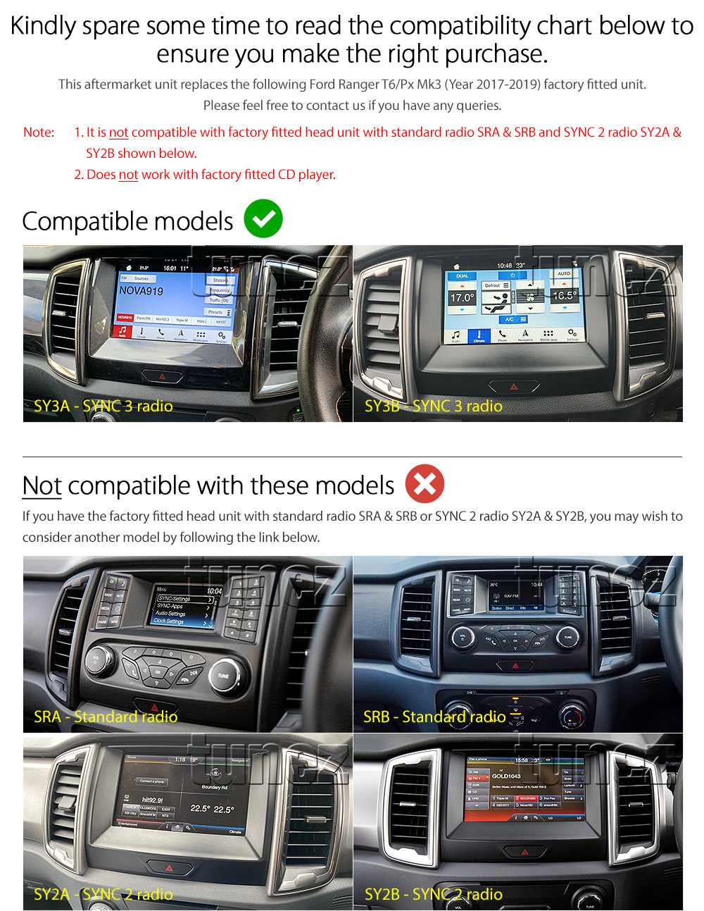 """9"""" Android Car MP3 Player GPS For Ford Ranger T6 PX 2018-2019 SYNC 3 Radio MP4 Z"""