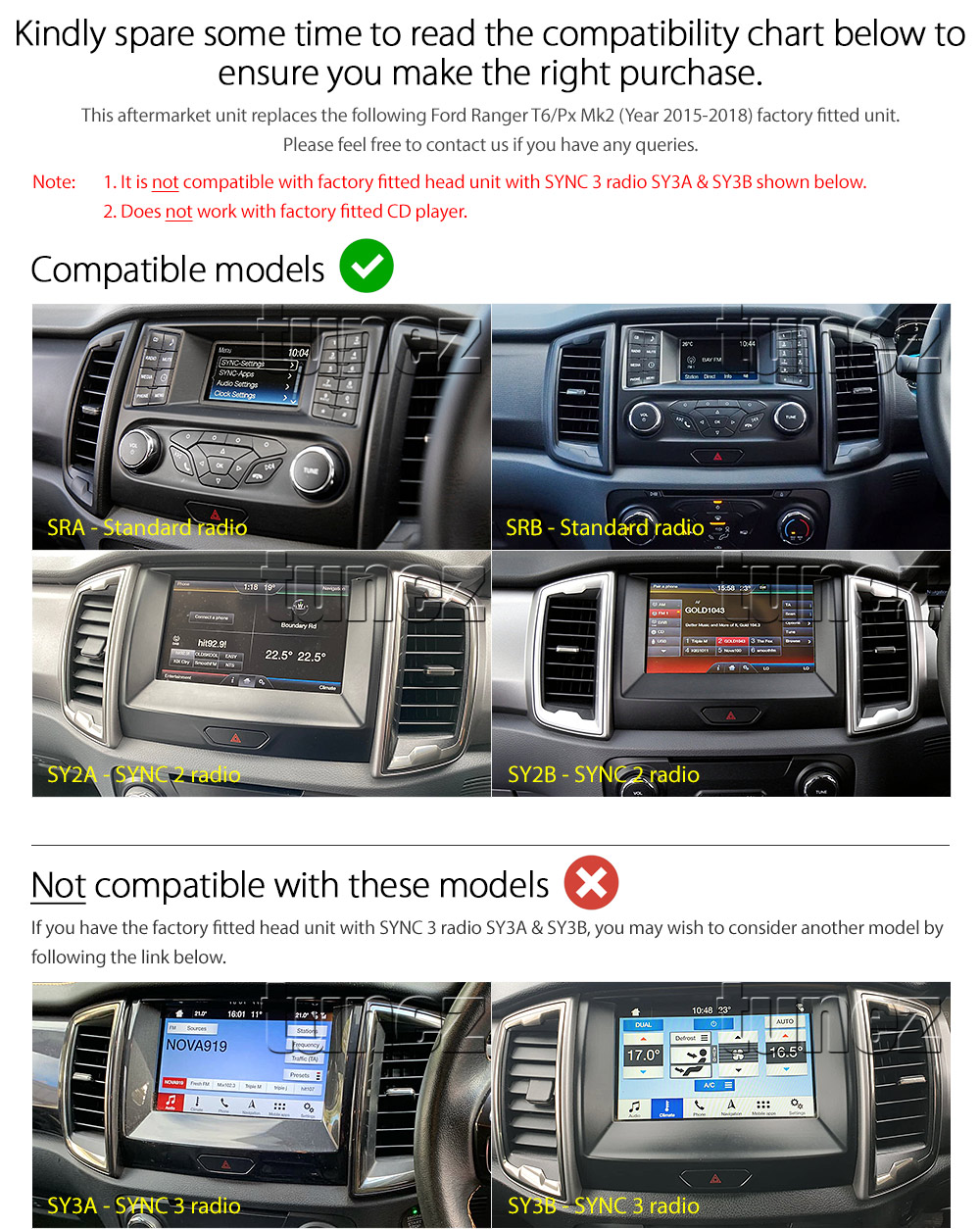 "9"" Android Car MP3 Player For Ford Ranger T6 PX 2015-2018 MK2 SYNC 2 GPS Radio Z"