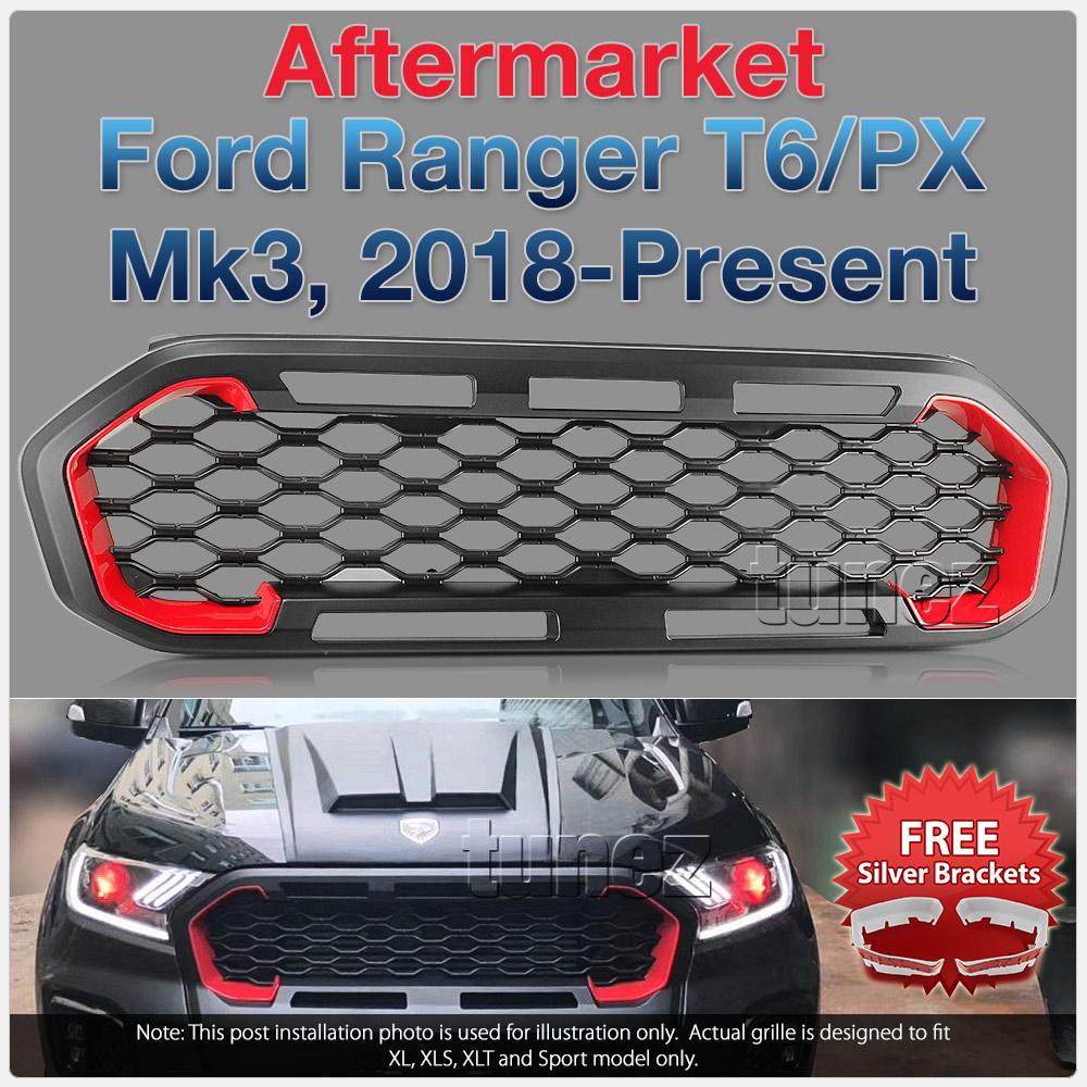Matt Black Grille For Ford Ranger XL XLT XLS Sport Matte Grill Front Mesh Tunez