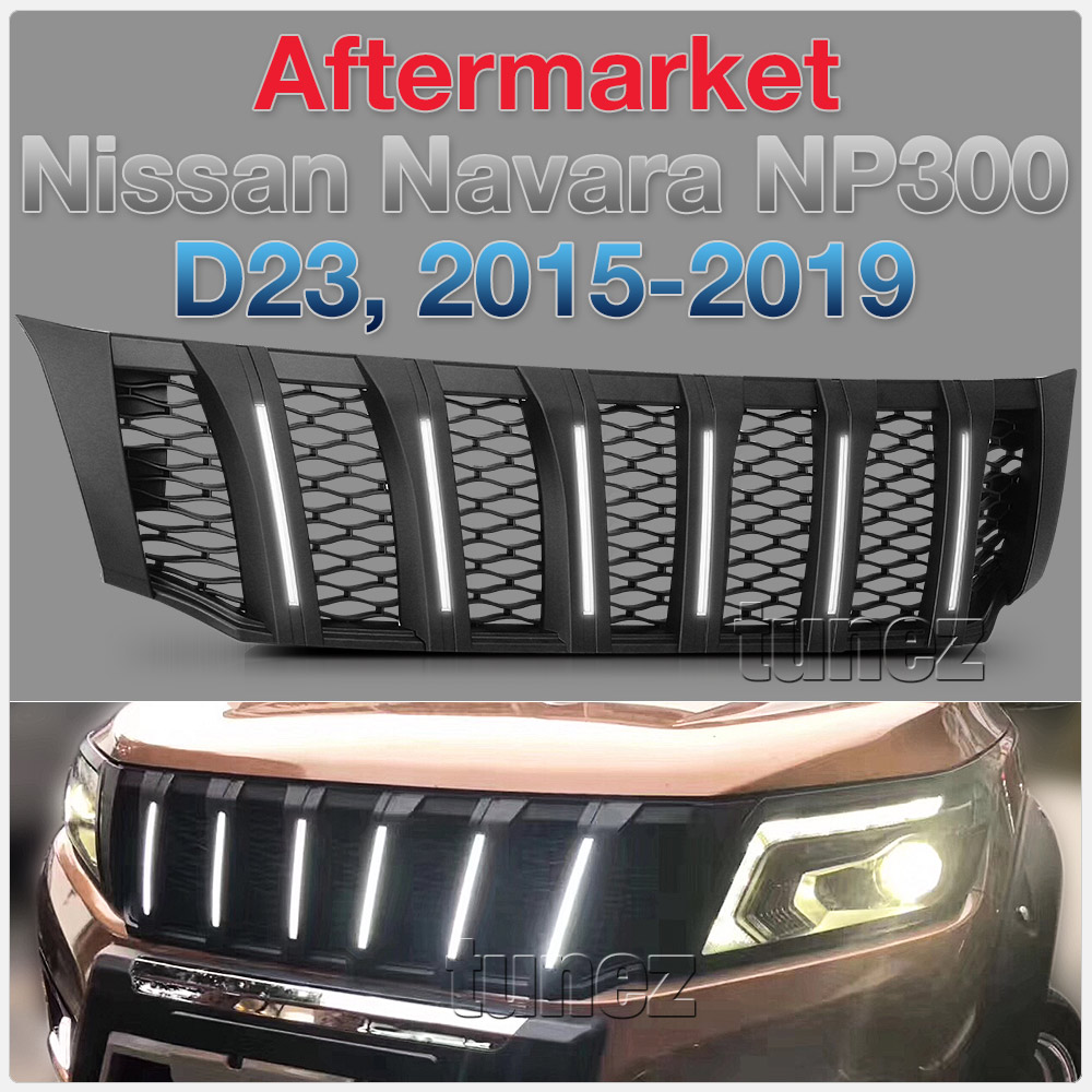 NEW Matt Black Grille Mesh For Nissan Navara NP300 D23 White LED Light 2015-2019