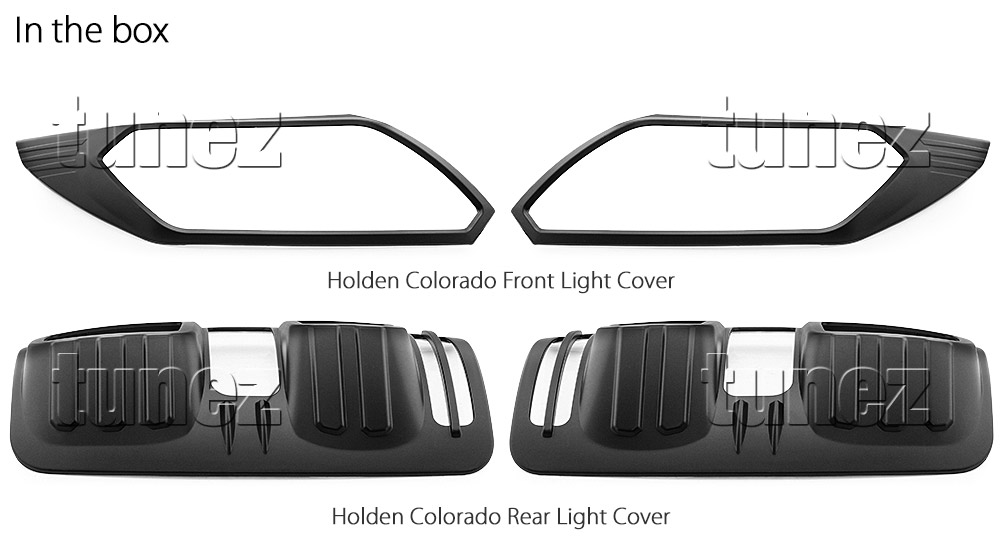 HCM01 Holden Colorado 2nd Gen Generation RG LS LTZ Z71 SportsCat Series Badge Lamp Cover Eyelid ABS Plastic Matte Matt Black Front Back Rear Tail Light Tail Lamp Head Light Headlight UK United Kingdom USA Australia Europe Set Kit For Car Aftermarket Pair 2016 2017 2018 2019