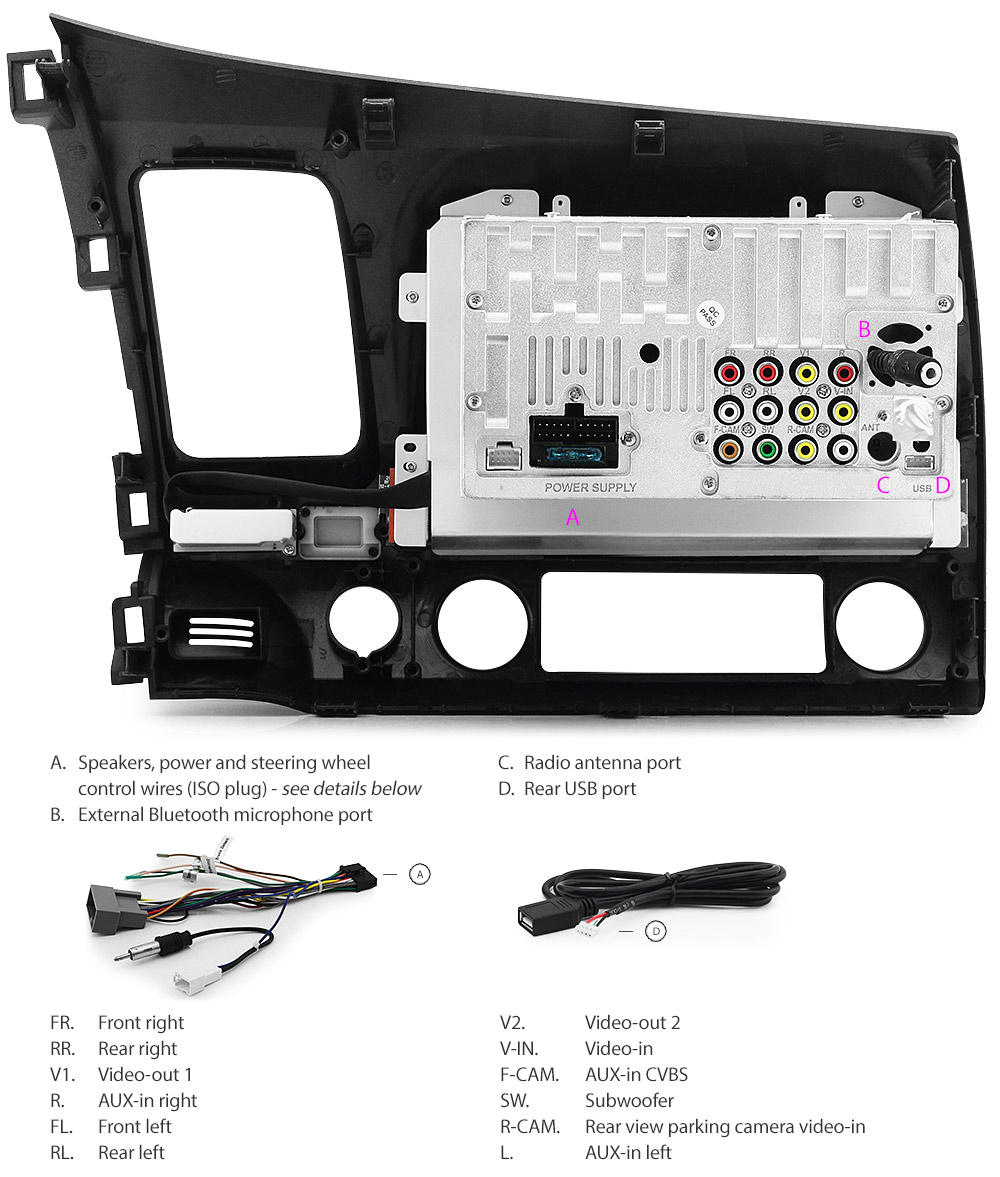 Car Dvd Player For Honda Civic Fd1 Fd2 Stereo Usb Mp3 Radio Head Unit Ozproz 6219592067429
