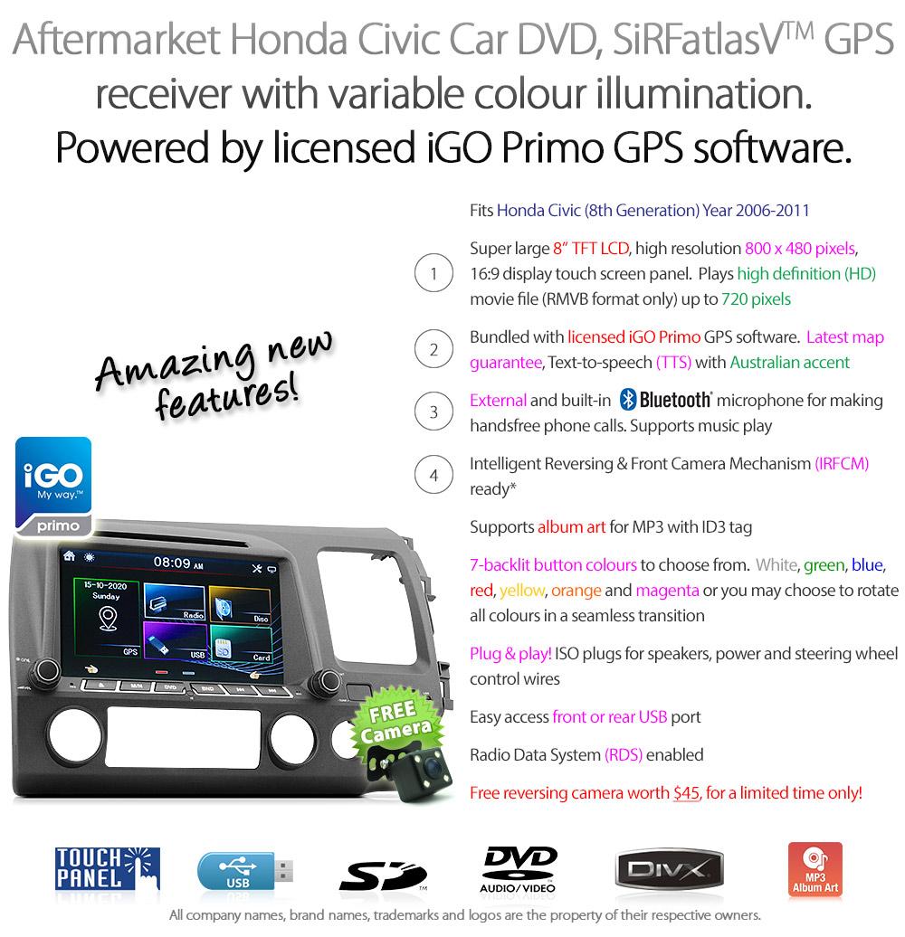 8 Honda Civic Car Dvd Gps Player Stereo Radio Head Unit Sat Nav 2010 Wiring Harness Hcvc11gps Inch Aftermarket Usb Sd Card External Microphone Bluetooth