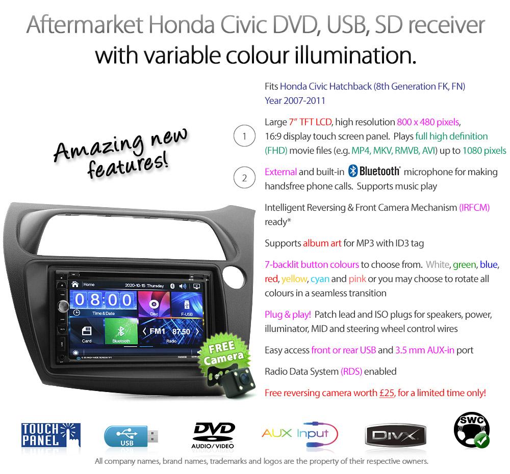 HCVC12DVD 7 Inch Aftermarket Honda Civic Hatchback Hatch 3 Door 5 8th