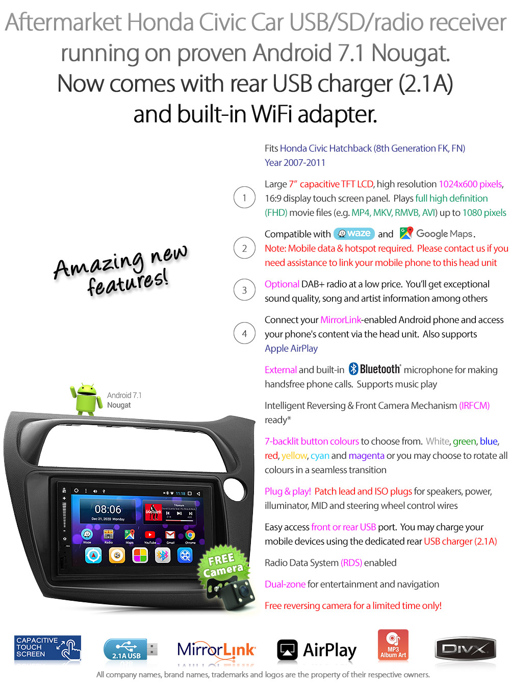 Android Car Mp3 Player For Honda Civic Hatch Fk Fn Stereo