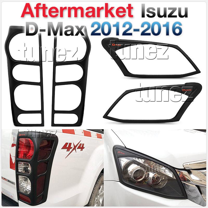 Front Tail Light Headlight Black Lamp Cover Isuzu D-Max 2012 2013 2014 RT50 DMax