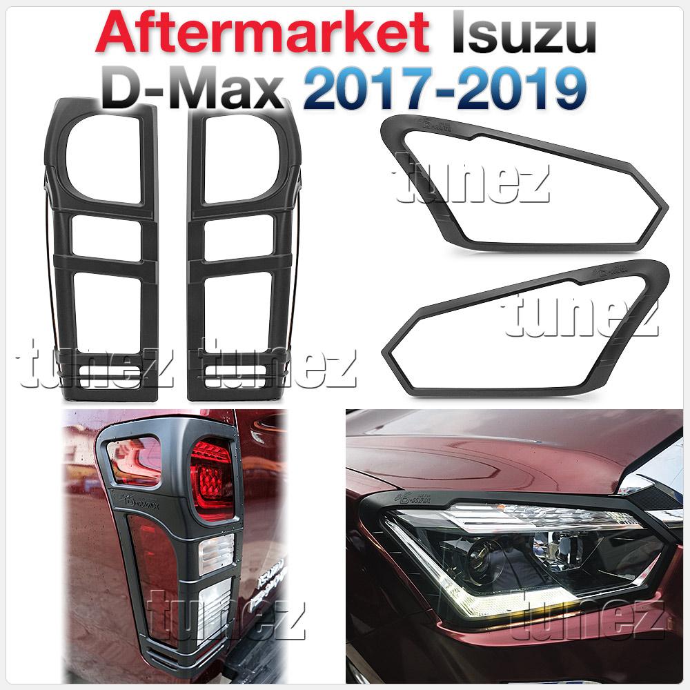 Matt Black Front Tail Rear Light Head Lamp Cover Isuzu D-Max DMax RT85 2017 2018