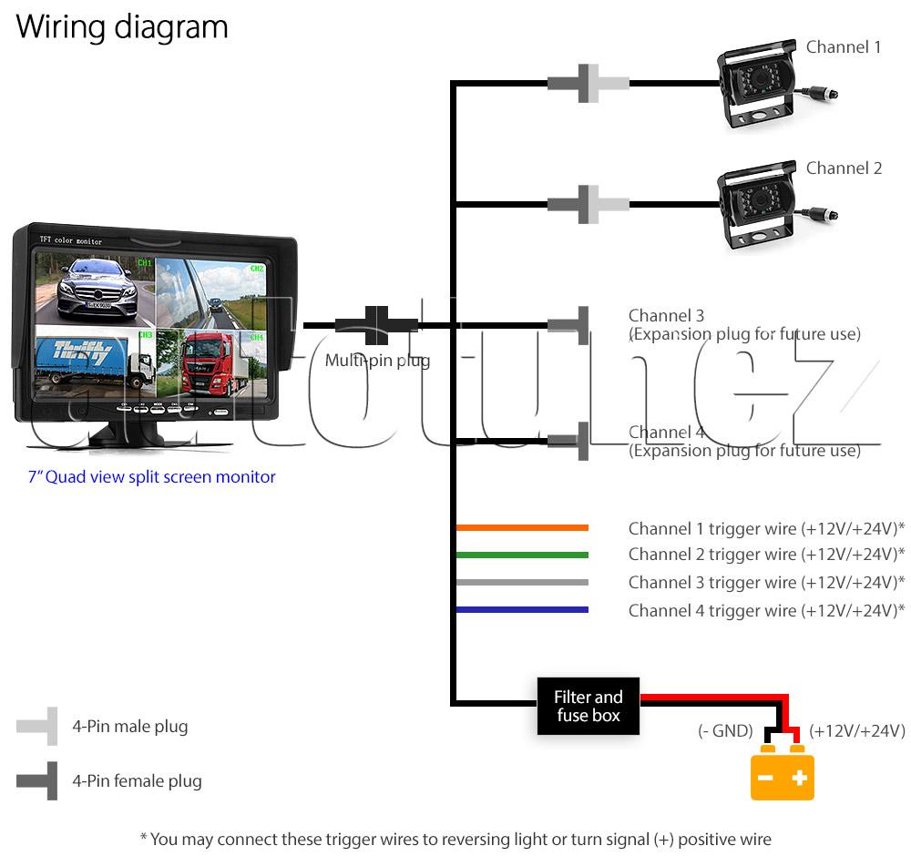 7 Split Screen Monitor 24v 12v 2 Ccd Reversing Camera 4pin System Channel Car Wiring Diagram Ircam4p02 Dc 3 4 Channels Caravan Motorhome Truck Trailer Bus