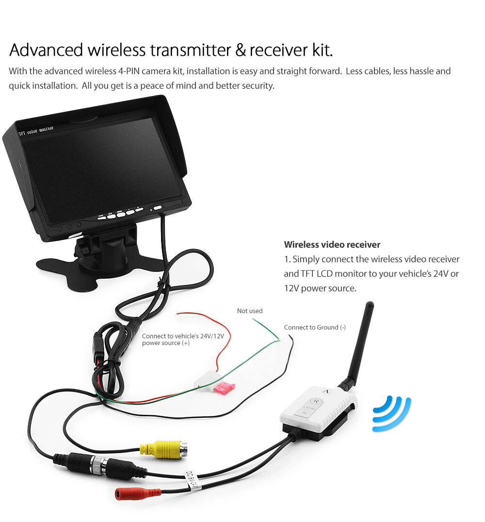Wireless 24v 12v Ccd Reversing Mini Camera Parking Rear View Compact Pillow Tft Lcd Color Monitor Wiring Diagram Ircam4pwl Sq Digital Advanced Receiver Transmitter 200m 200 Meter Dc Single 1