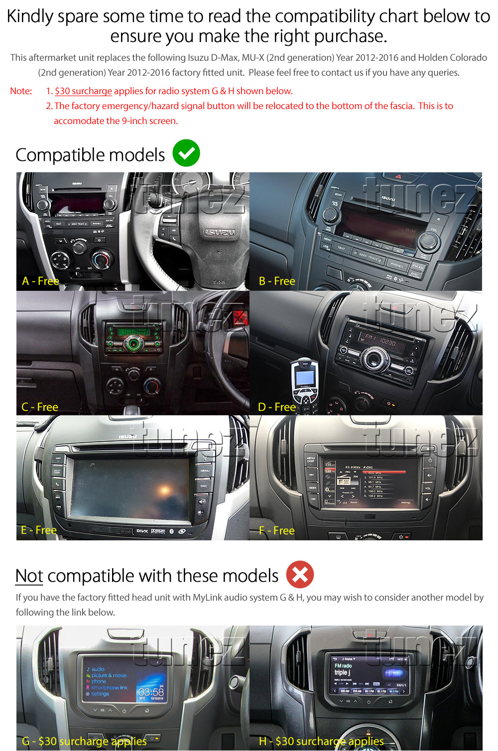 9-inch Dedicated Isuzu D-Max RT MU-X Holden Colorado RG Android Car MP3 GPS Player