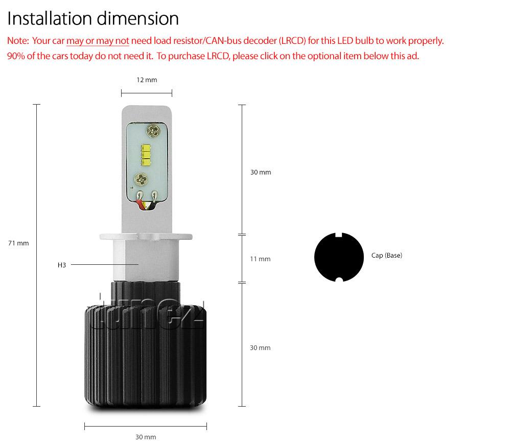 H3 Led Philips Luxeon Z Es Headlamp Headlight 6500k