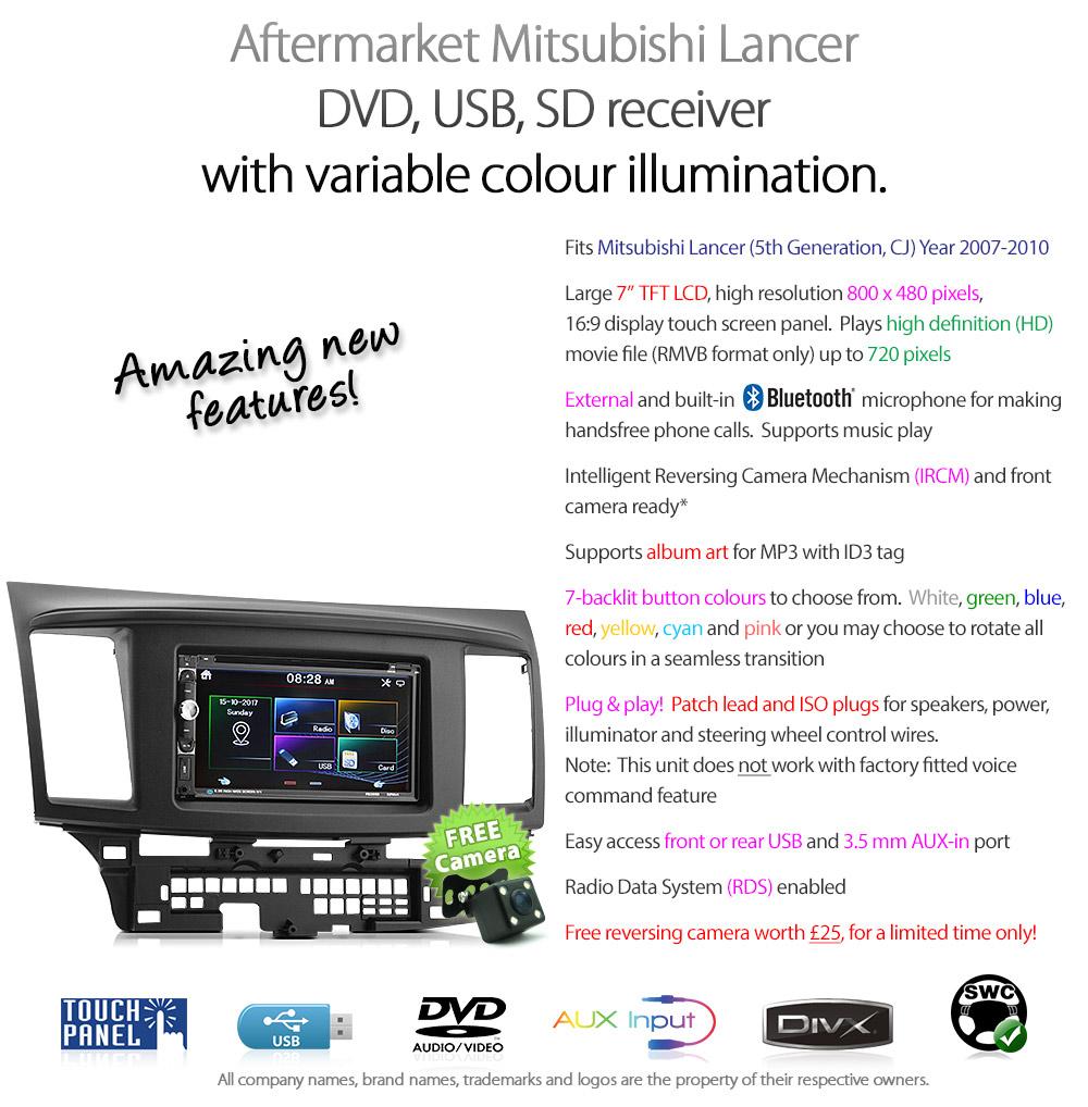 mitsubishi lancer car dvd player stereo radio mp3 cd facia. Black Bedroom Furniture Sets. Home Design Ideas