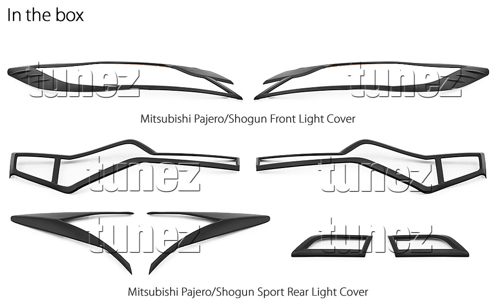 mitsubishi pajero sport front tail rear light lamp cover black 2016 2017 2018 oz 6219592068846