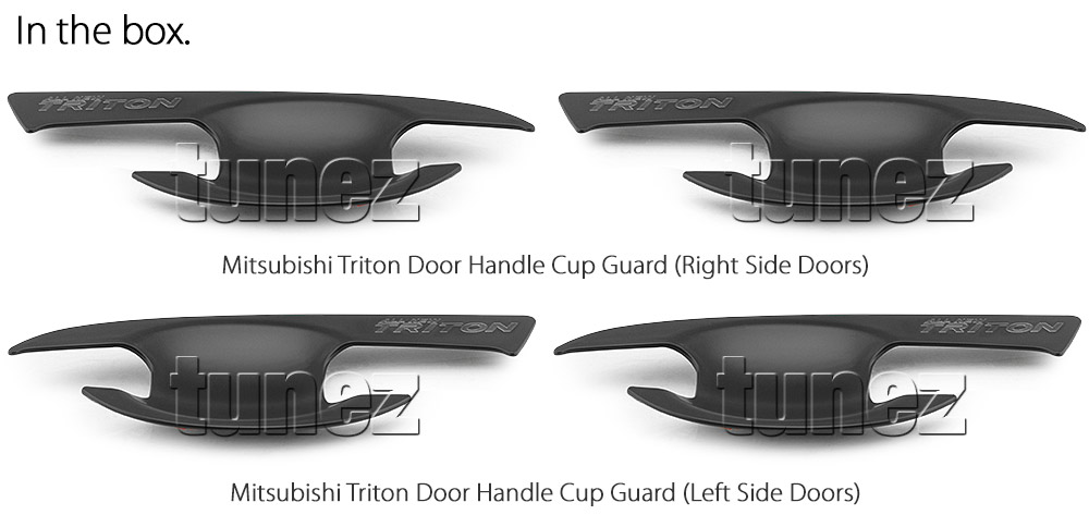 MTLM02 Mitsubishi Triton L200 MQ MR GLX GLX+ GLS Exceed Blackline Sports Barbarian DI-D Warrior Titan Challenger UK United Kingdom USA Australia Europe Matte Matt Black Night Dark Sky Series Edition Manual Remote Keyless Auto Smart Cup Bowl Key Cover Guard Protector Door Handle Passenger Front Rear Side For Car Aftermarket Set Pair 2015 2016 2017 2018 2019 2020