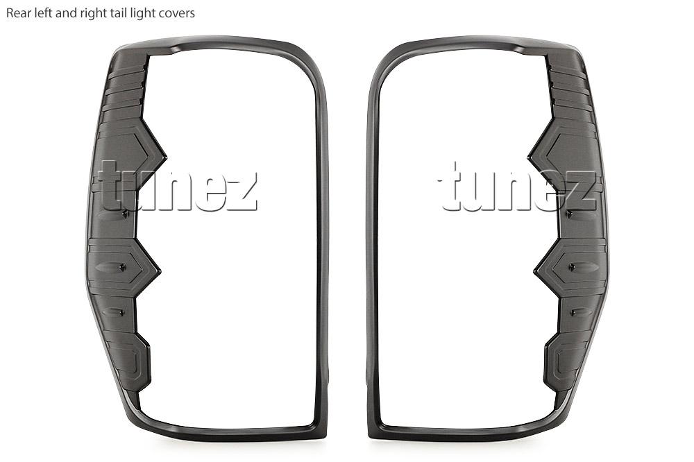 Black Front Rear Tail Light Lamp Cover For Mitsubishi Triton MR 2019 2020