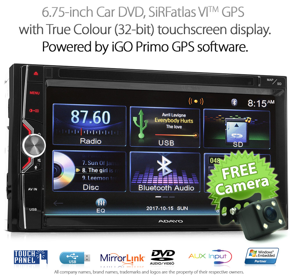 Igo Primo Mirror Link Double 2 Din In Car Dash Dvd Gps Player Stereo Automobile Interior Lights Fader Ns13gps 675 Inch Oem Quality Universal Usb
