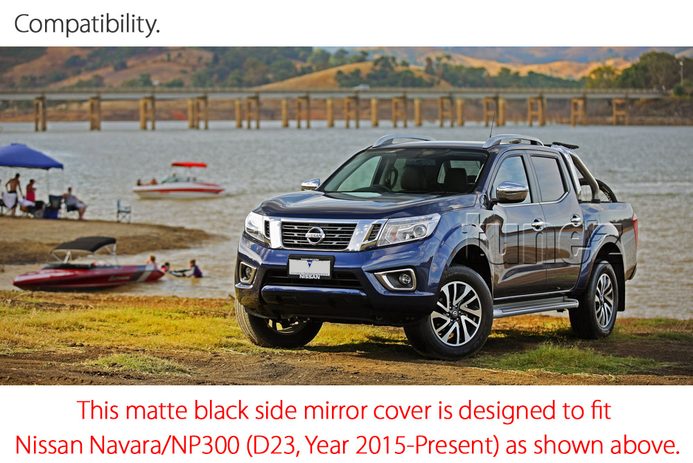 NVM02 Nissan Navara NP300 NP 300 D23 Series DX RX ST ST-X SL Visia Acenta Acenta+ N-Connecta Tekna UK United Kingdom USA Australia Europe Matte Matt Black Night Dark Sky Series Edition Rear Side Mirror Cover Guard Protector Turn Signal Indicator For Car Aftermarket Pair 2014 2015 2016 2017 2018 2019 2020