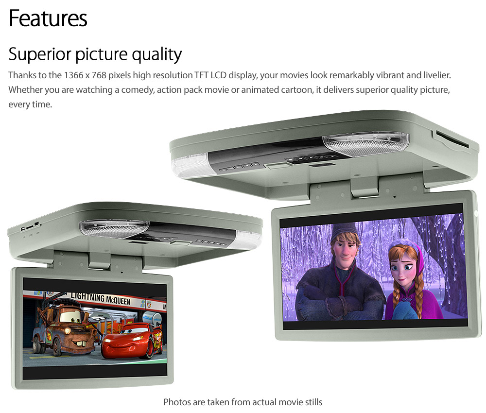 15 6 Quot Dvd Player Hdmi Roof Mount In Car Flip Down Monitor