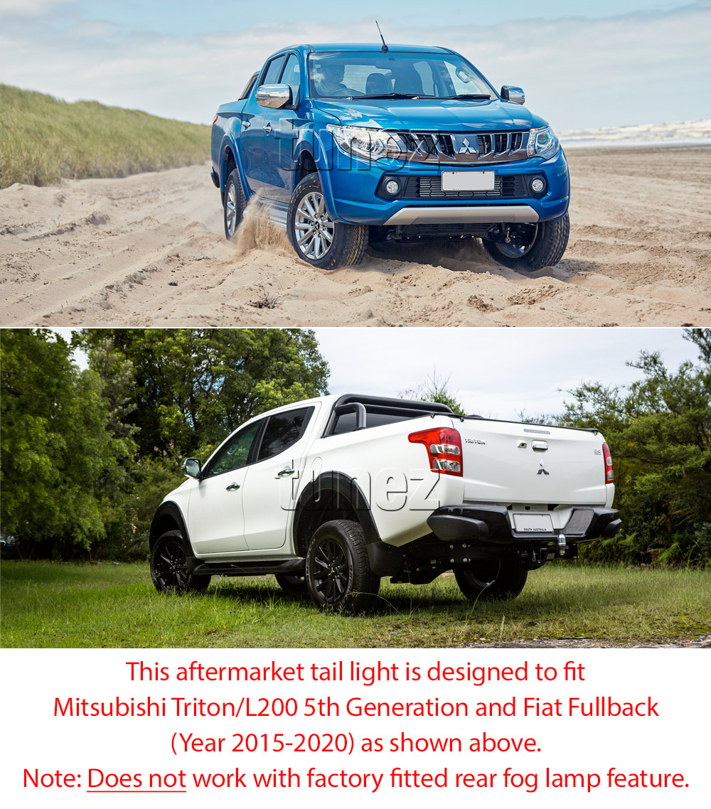 RLMT01 Mitsubishi Triton L200 Fiat Fullback MQ 5th Generation Gen Series GLX GLS GLX+ Blackline Exceed Barbarian Warrior Titan Challenger 2015 2016 2017 2018 2019 2020 Replacement OEM Standard Original Replace A Pair Set Left Right Side Lamp ABS Front Back Rear Tail Light Tail Lamp Head Light Headlight Taillights UK United Kingdom USA Australia Europe Set Kit For Car Aftermarket