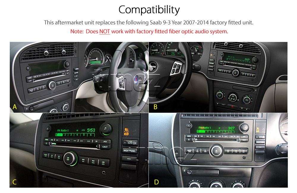 saab 9 3 car dvd gps navi sat nav usb mp3 stereo radio. Black Bedroom Furniture Sets. Home Design Ideas