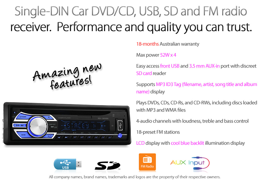 Details about Single 1 DIN CD Car Stereo Player USB SD MP3 Head Unit ID3  Tag AUX In Radio TU