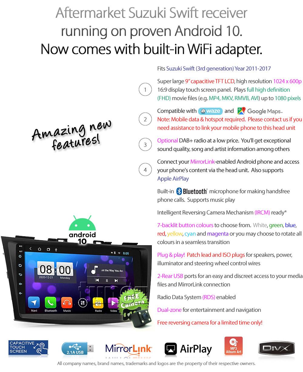 "9"" Android MP3 Car Player Radio For Suzuki Swift FZ 2011"