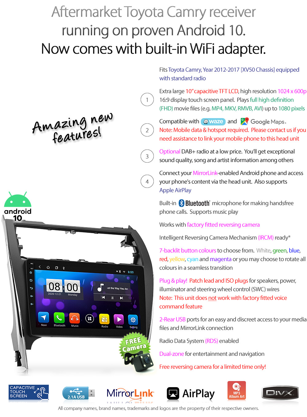 10 U0026quot  Android Mp3 Car Player For Toyota Camry Xv50 2012