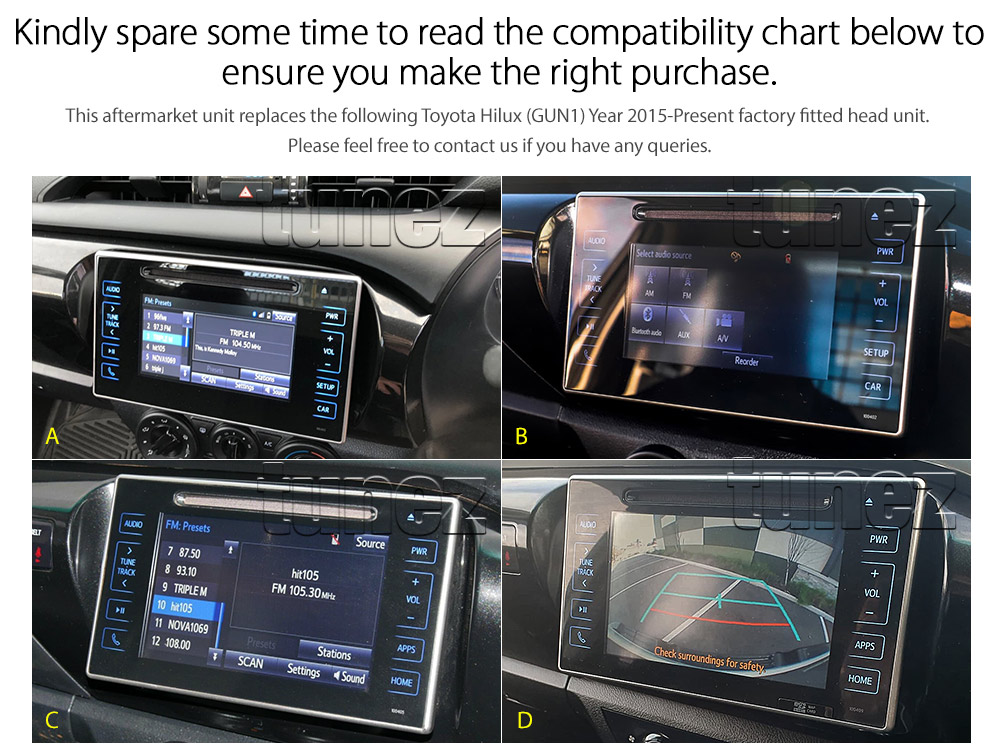 TH01AND GPS Aftermarket Toyota Hilux 2015 2016 2017 2018 2019 2020 2021 SR SR5 Workmate Rogue Rugged X chassis 8th generation gen GUN1 AN120 AN130 extra large 10-inch 10