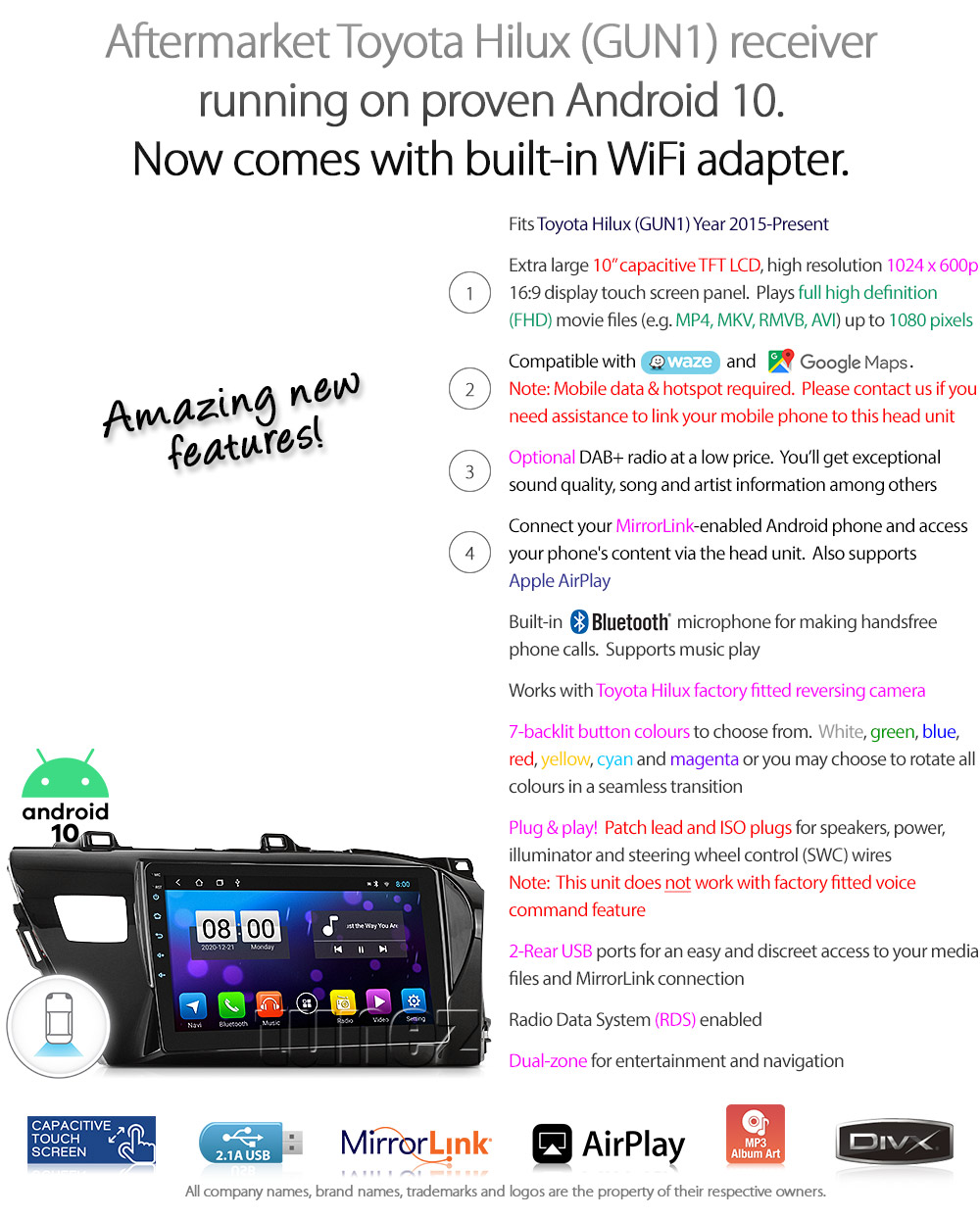 """10"""" Android Car MP3 Player For Toyota Hilux 2016 2017 2018 Radio Stereo GPS MP4"""