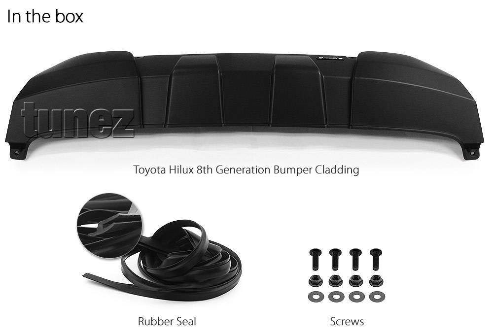 THEC01 Toyota Hilux Bumper Cladding Guard Protector ABS Trim 8th Generation Gen AN120 AN130 2015 2016 2017 2018 SR5 SR Hi-Rider Workmate Invincible Icon Active Matt Matte Material Black OEM Fitting Aftermarket