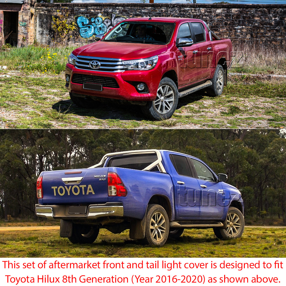 THM02 Toyota Hilux 8th Generation AN120 AN130 GUN1 Gen Matte Matt Black Eyelid ABS Plastic Tail Rear Lamp Light Lights Cover Frame Mask 3M For Car Truk Taillights Headlamp Rear Lamp Light Aftermarket Pair 2016 2017 2018 2019 SR SR5 Workmate Active Icon Invincible X Embossing